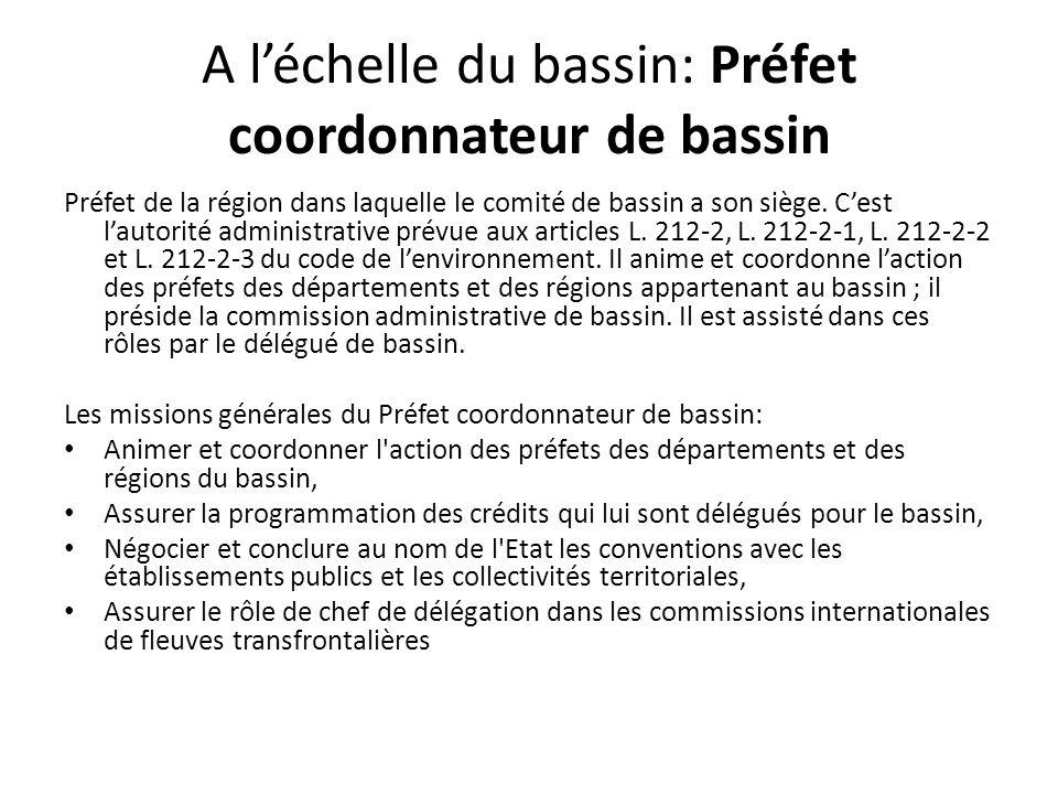 A l'échelle du bassin: Préfet coordonnateur de bassin Préfet de la région dans laquelle le comité de bassin a son siège. C'est l'autorité administrati