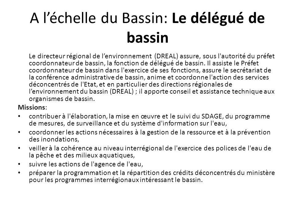 A l'échelle du Bassin: Le délégué de bassin Le directeur régional de l'environnement (DREAL) assure, sous l'autorité du préfet coordonnateur de bassin