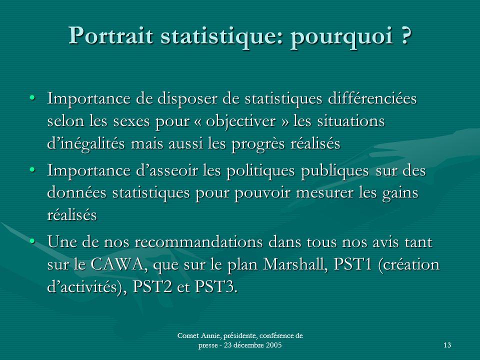 Cornet Annie, présidente, conférence de presse - 23 décembre 200513 Portrait statistique: pourquoi .