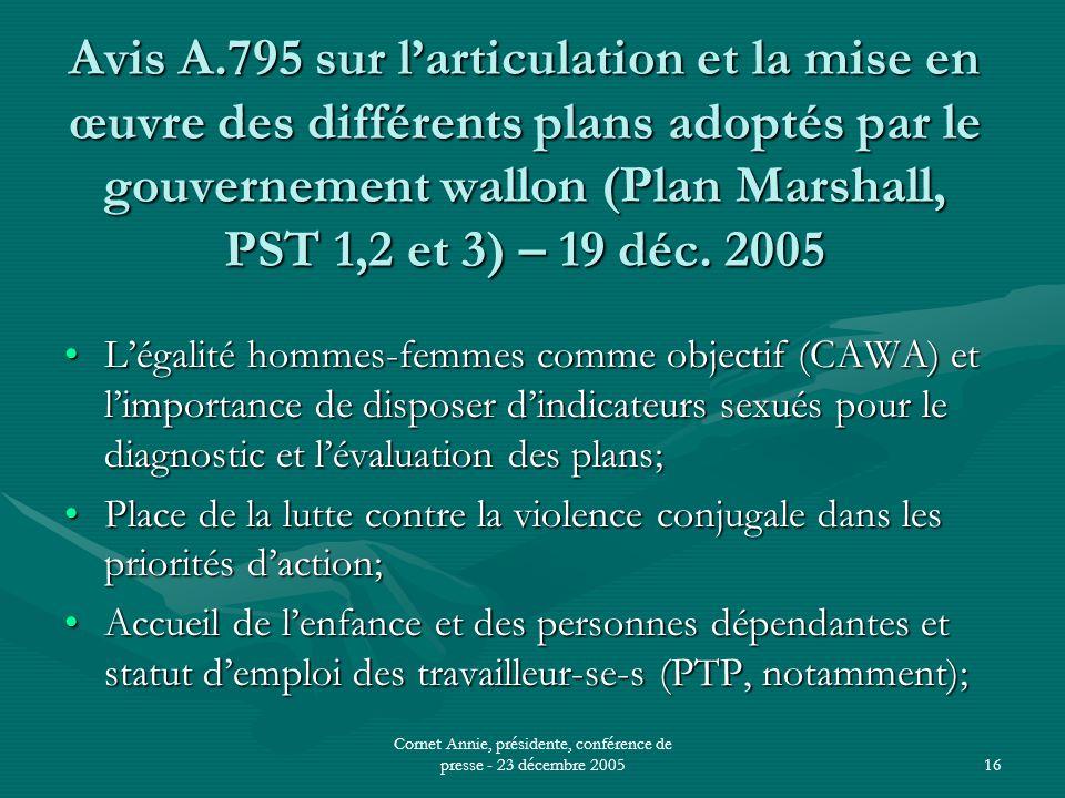 Cornet Annie, présidente, conférence de presse - 23 décembre 200516 Avis A.795 sur l'articulation et la mise en œuvre des différents plans adoptés par le gouvernement wallon (Plan Marshall, PST 1,2 et 3) – 19 déc.