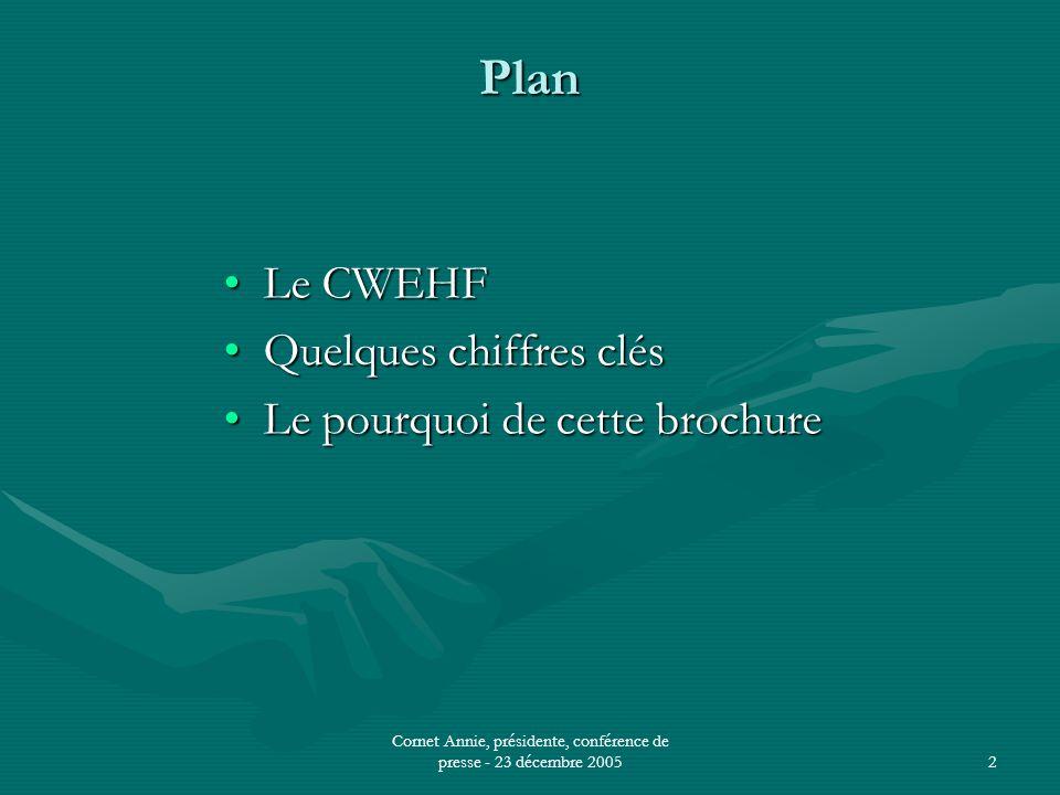 Cornet Annie, présidente, conférence de presse - 23 décembre 20052 Plan •Le CWEHF •Quelques chiffres clés •Le pourquoi de cette brochure