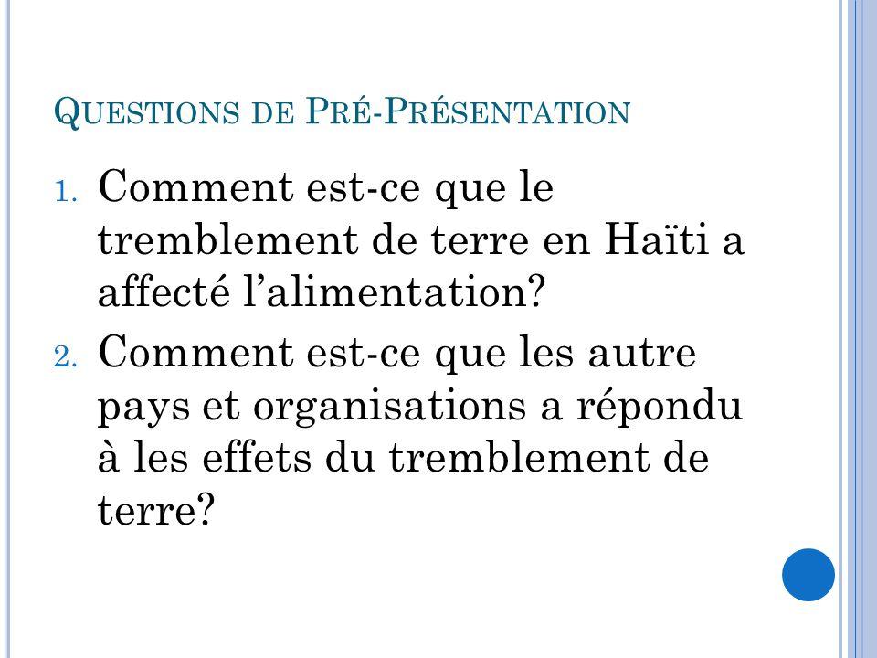 Q UESTIONS DE P RÉ -P RÉSENTATION 1.