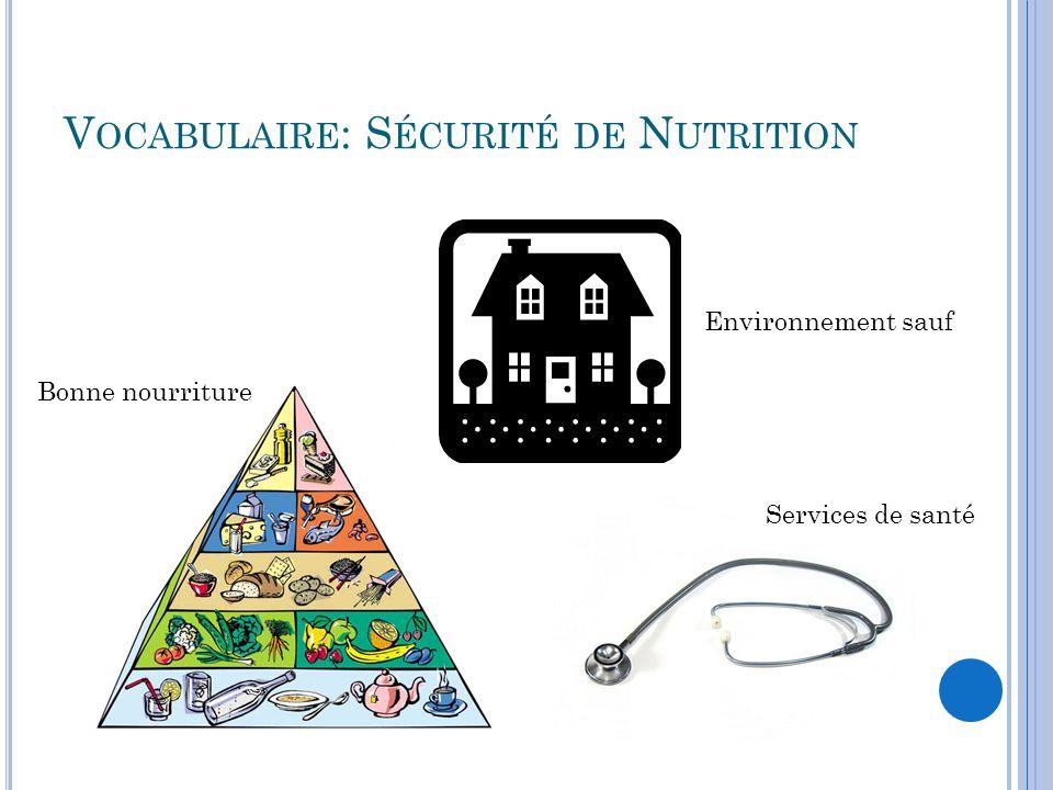 V OCABULAIRE : S ÉCURITÉ DE N UTRITION Bonne nourriture Environnement sauf Services de santé