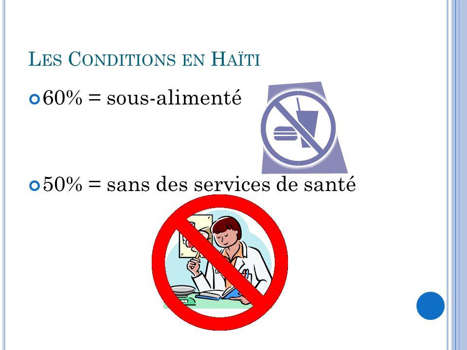 L ES C ONDITIONS EN H AÏTI 60% = sous-alimenté 50% = sans des services de santé