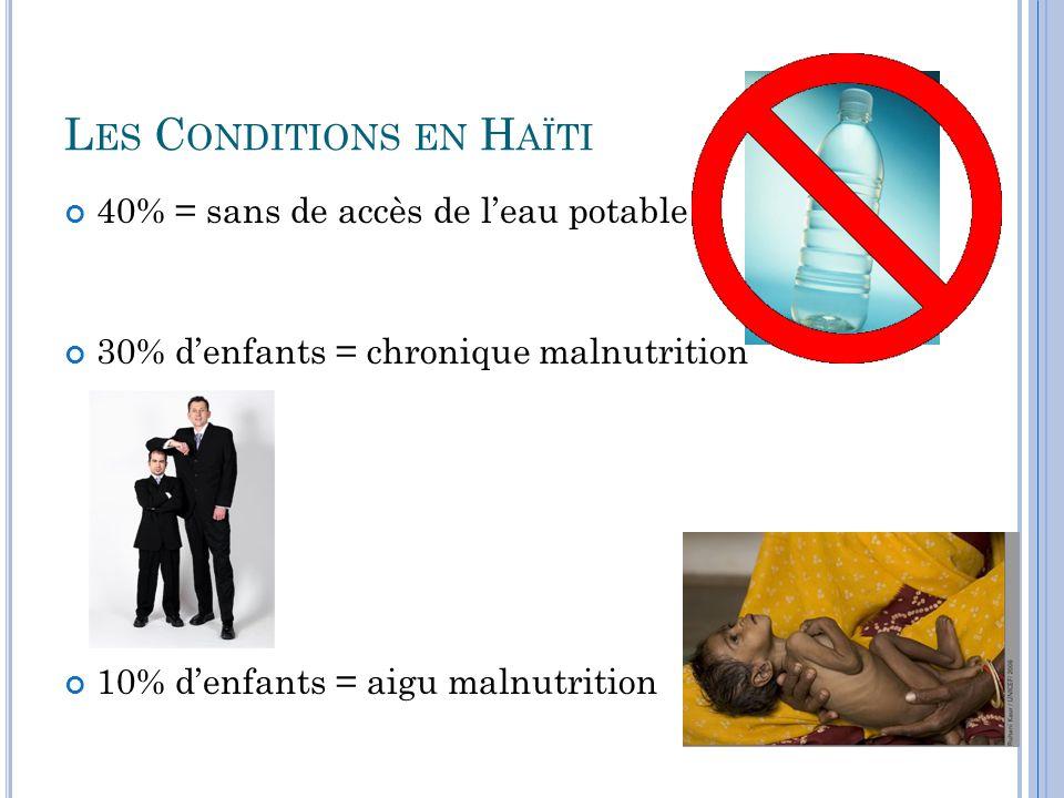 L ES C ONDITIONS EN H AÏTI 40% = sans de accès de l'eau potable 30% d'enfants = chronique malnutrition 10% d'enfants = aigu malnutrition