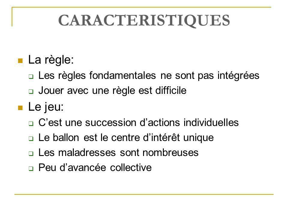 CARACTERISTIQUES  La règle:  Les règles fondamentales ne sont pas intégrées  Jouer avec une règle est difficile  Le jeu:  C'est une succession d'