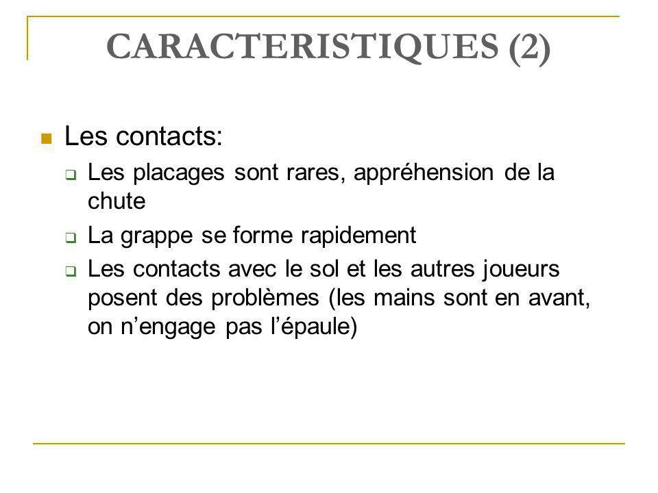 CARACTERISTIQUES (2)  Les contacts:  Les placages sont rares, appréhension de la chute  La grappe se forme rapidement  Les contacts avec le sol et