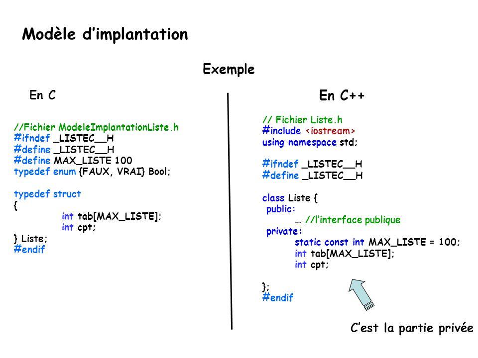 //Fichier ModeleImplantationListe.h #ifndef _LISTEC__H #define _LISTEC__H #define MAX_LISTE 100 typedef enum {FAUX, VRAI} Bool; typedef struct { int tab[MAX_LISTE]; int cpt; } Liste; #endif // Fichier Liste.h #include using namespace std; #ifndef _LISTEC__H #define _LISTEC__H class Liste { public: … //l'interface publique private: static const int MAX_LISTE = 100; int tab[MAX_LISTE]; int cpt; }; #endif En C++ En C Modèle d'implantation C'est la partie privée Exemple