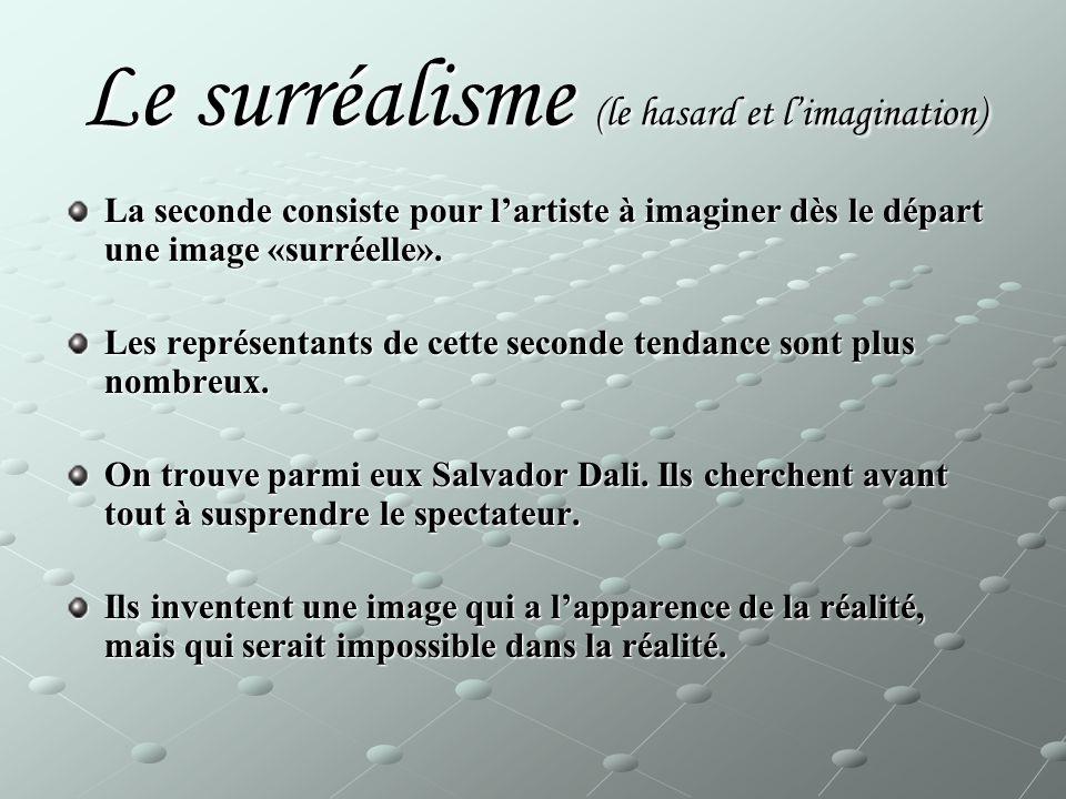 Le surréalisme (le hasard et l'imagination) La seconde consiste pour l'artiste à imaginer dès le départ une image «surréelle».