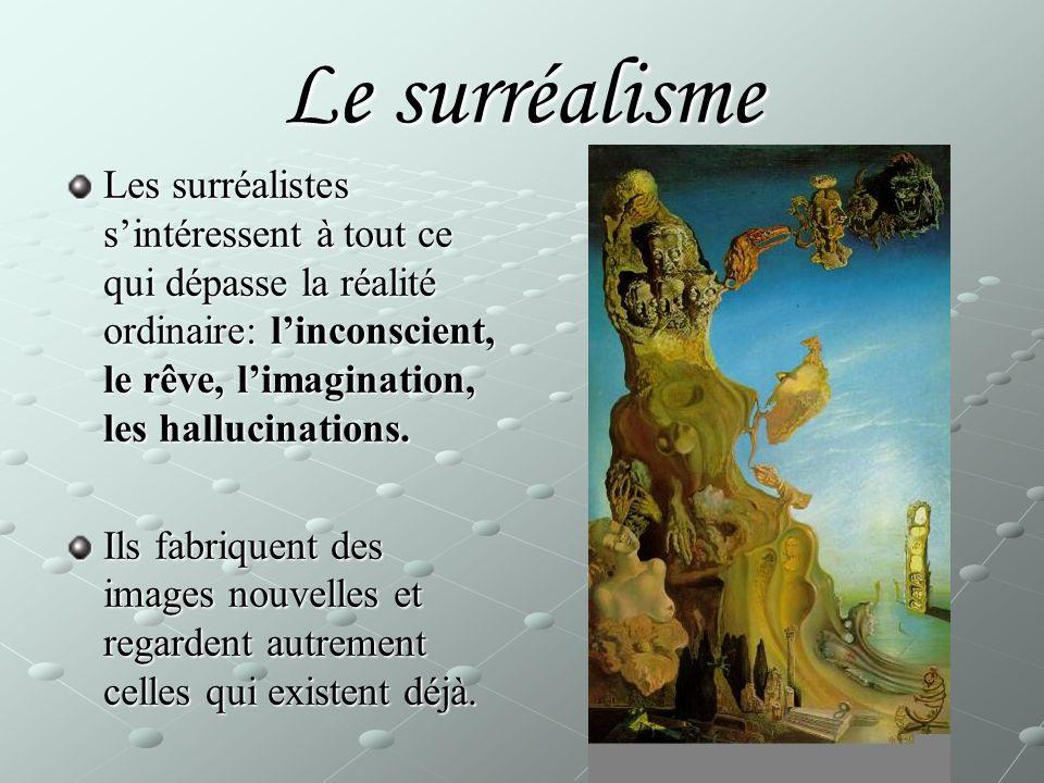 Les surréalistes s'intéressent à tout ce qui dépasse la réalité ordinaire: l'inconscient, le rêve, l'imagination, les hallucinations.
