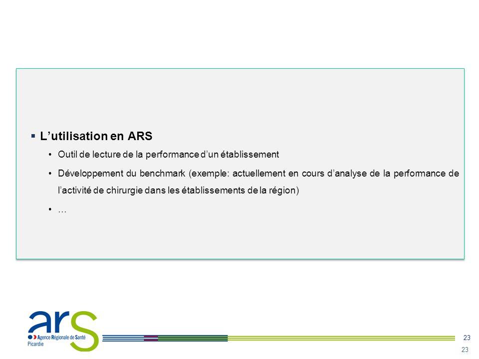 23  L'utilisation en ARS •Outil de lecture de la performance d'un établissement •Développement du benchmark (exemple: actuellement en cours d'analyse