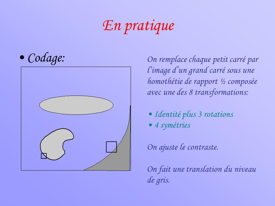 En pratique •Codage: On remplace chaque petit carré par l'image d'un grand carré sous une homothétie de rapport ½ composée avec une des 8 transformati