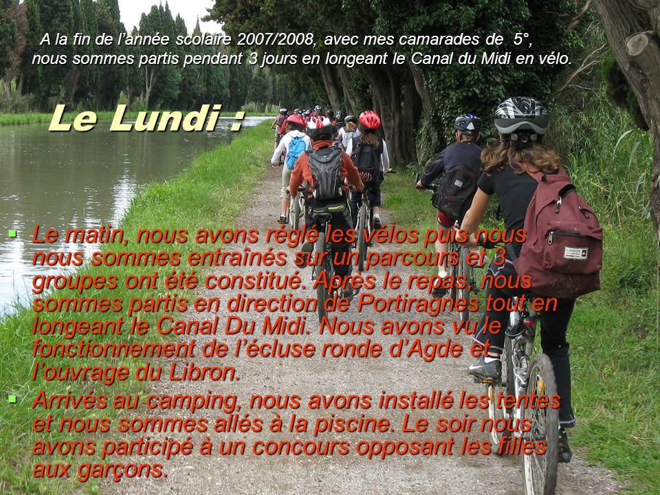Le Lundi :  Le matin, nous avons réglé les vélos puis nous nous sommes entraînés sur un parcours et 3 groupes ont été constitué.