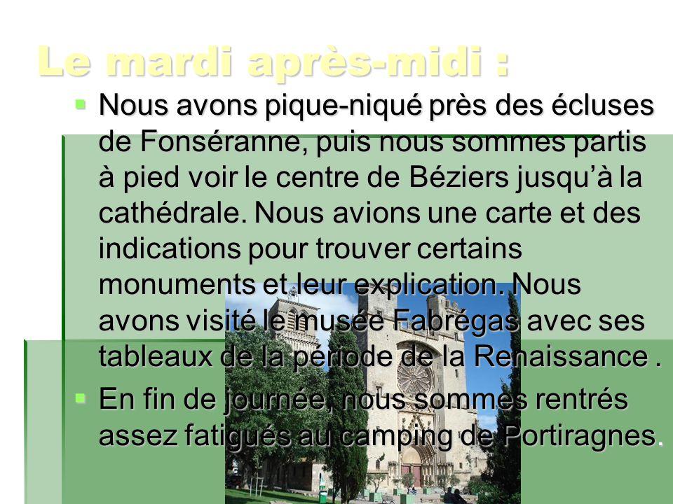 Le mardi après-midi :  Nous avons pique-niqué près des écluses de Fonséranne, puis nous sommes partis à pied voir le centre de Béziers jusqu'à la cathédrale.