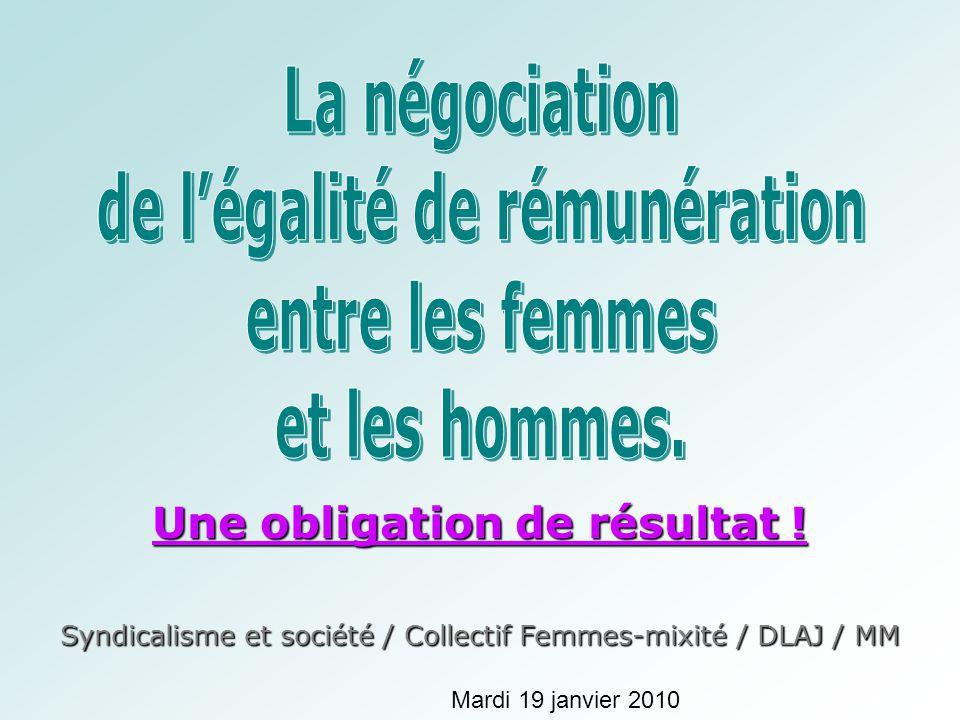 Une obligation de résultat ! Syndicalisme et société / Collectif Femmes-mixité / DLAJ / MM Mardi 19 janvier 2010