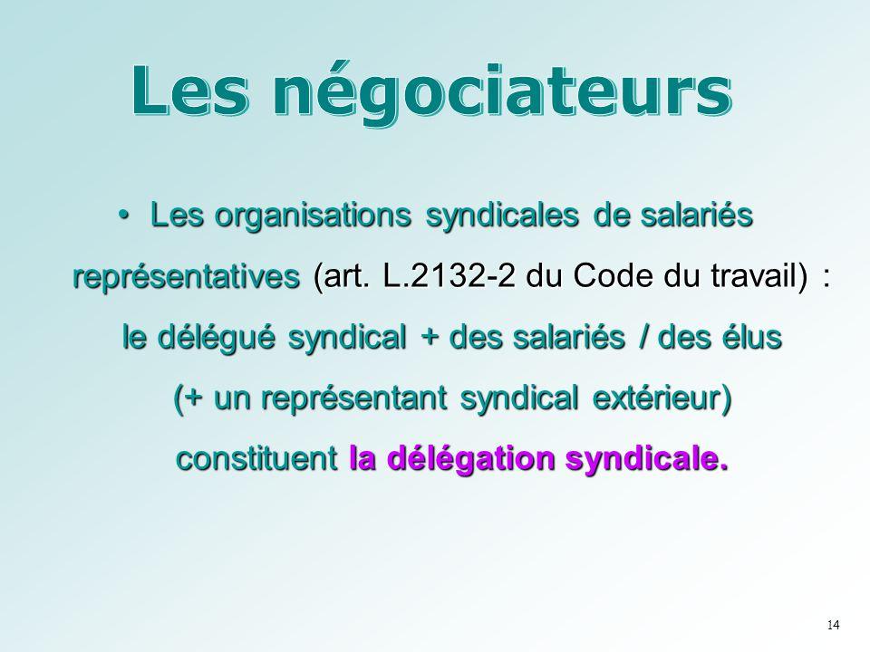 •Les organisations syndicales de salariés représentatives (art. L.2132-2 du Code du travail) : le délégué syndical + des salariés / des élus (+ un rep