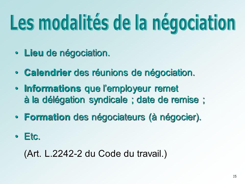 •Lieu de négociation. •Calendrier des réunions de négociation. •Informations que l'employeur remet à la délégation syndicale ; date de remise ; •Forma