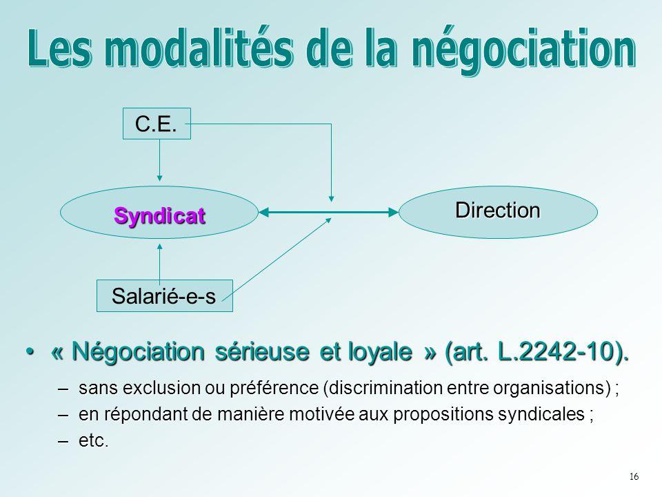 •« Négociation sérieuse et loyale » (art. L.2242-10). –sans exclusion ou préférence (discrimination entre organisations) ; –en répondant de manière mo