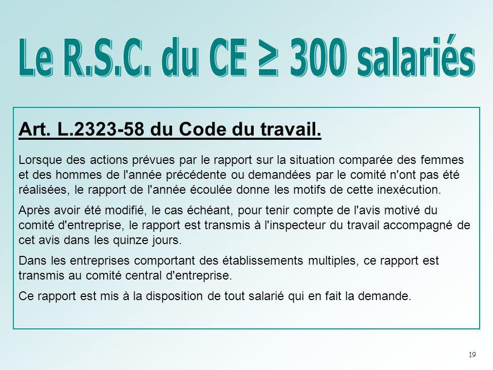 Art. L.2323-58 du Code du travail. Lorsque des actions prévues par le rapport sur la situation comparée des femmes et des hommes de l'année précédente