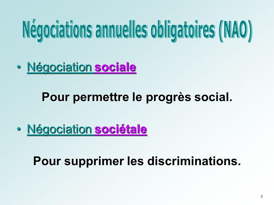 •Négociation sociale Pour permettre le progrès social. •Négociation sociétale Pour supprimer les discriminations. 3