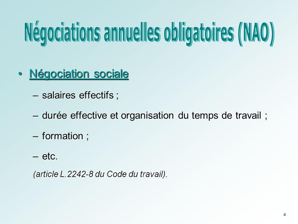 •Négociation sociale –salaires effectifs ; –durée effective et organisation du temps de travail ; –formation ; –etc. (article L.2242-8 du Code du trav