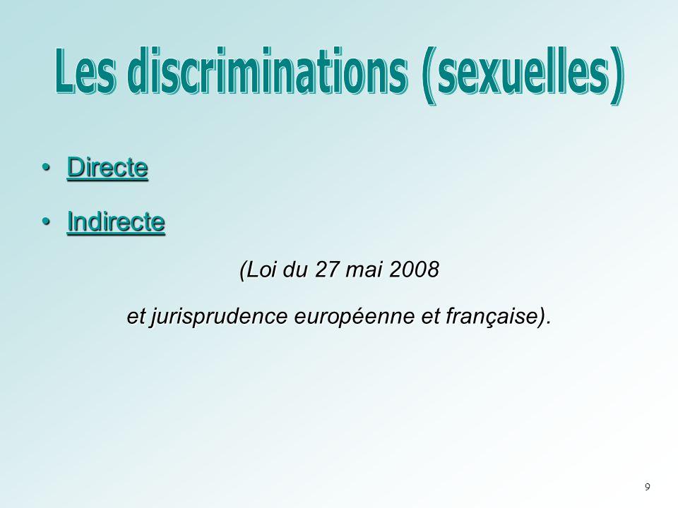 •Directe •Indirecte (Loi du 27 mai 2008 et jurisprudence européenne et française). 9