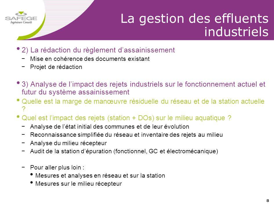 8 La gestion des effluents industriels • 2) La rédaction du règlement d'assainissement −Mise en cohérence des documents existant −Projet de rédaction