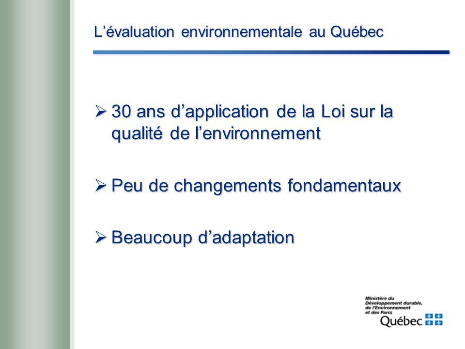 L'évaluation environnementale au Québec  30 ans d'application de la Loi sur la qualité de l'environnement  Peu de changements fondamentaux  Beaucoup d'adaptation