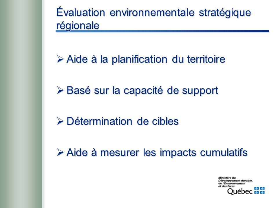 Évaluation environnementale stratégique régionale  Aide à la planification du territoire  Basé sur la capacité de support  Détermination de cibles  Aide à mesurer les impacts cumulatifs