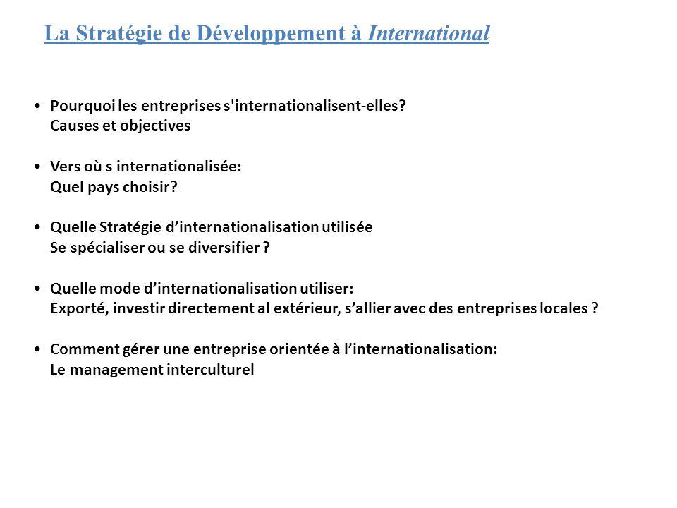 La Stratégie de Développement à International •Pourquoi les entreprises s'internationalisent-elles? Causes et objectives •Vers où s internationalisée: