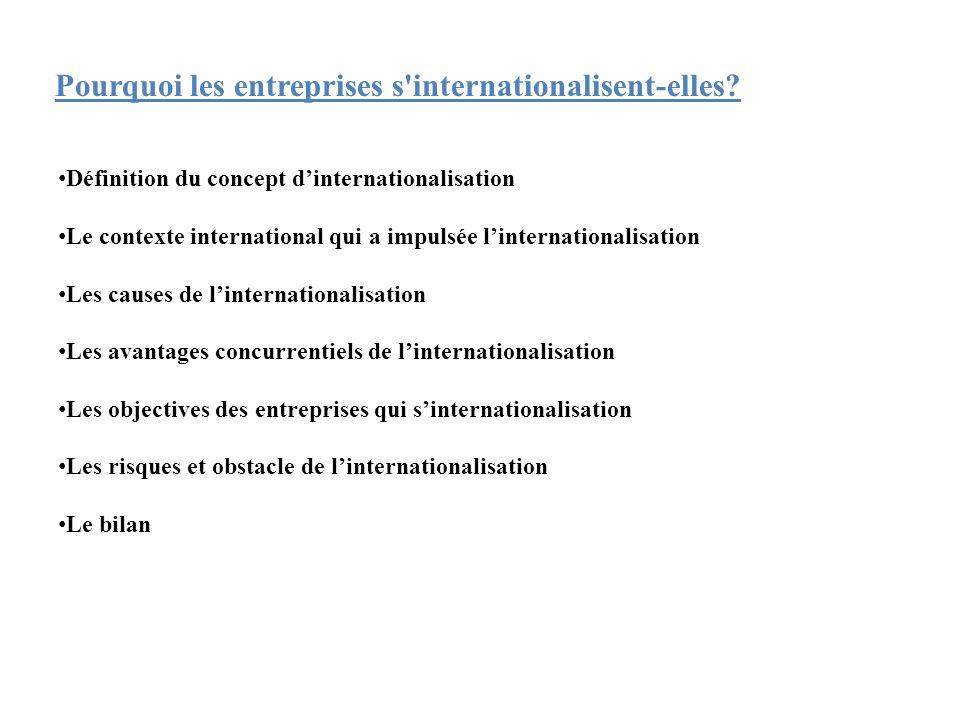 • Définition du concept d'internationalisation • Le contexte international qui a impulsée l'internationalisation • Les causes de l'internationalisatio