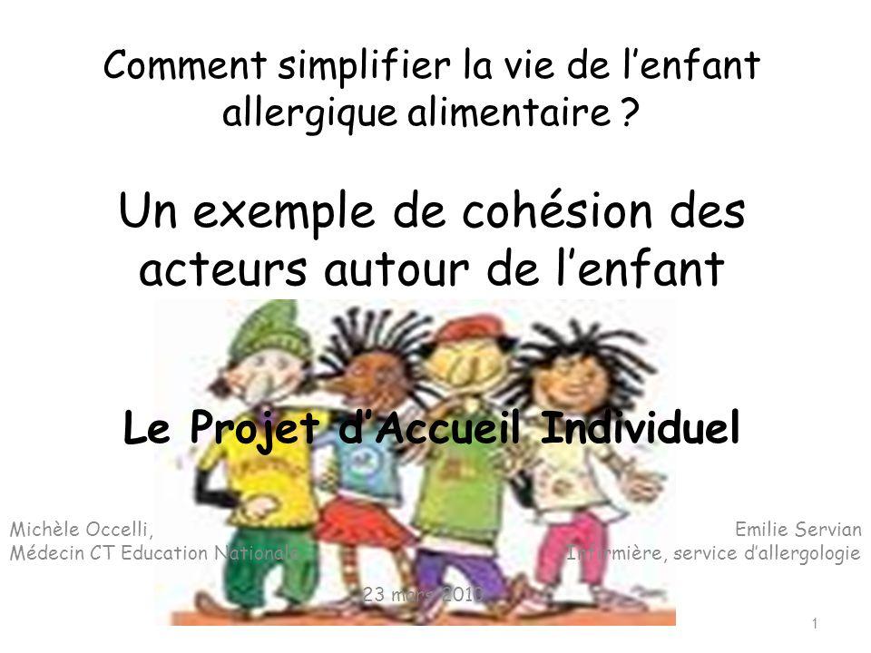 Comment simplifier la vie de l'enfant allergique alimentaire ? Un exemple de cohésion des acteurs autour de l'enfant Le Projet d'Accueil Individuel Mi