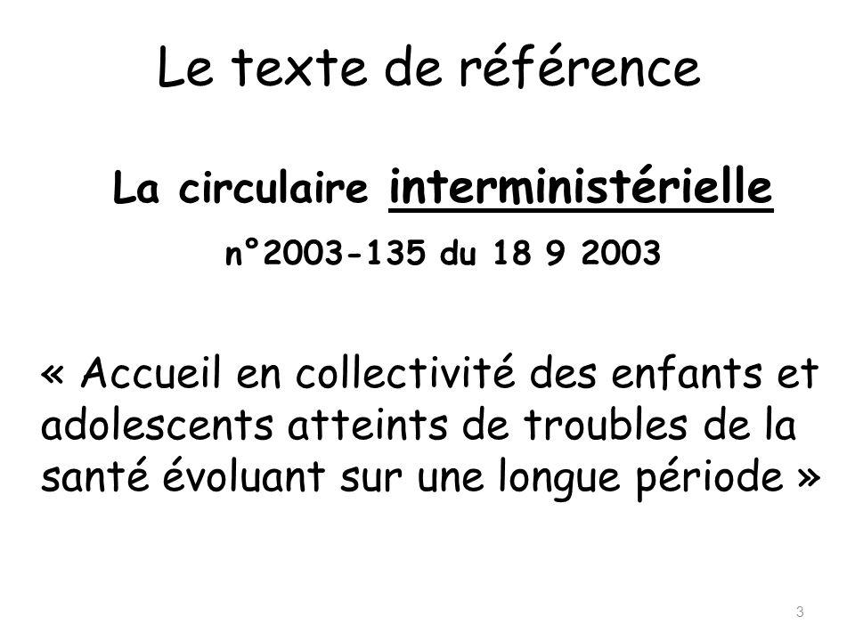 Le texte de référence 3 La circulaire interministérielle n°2003-135 du 18 9 2003 « Accueil en collectivité des enfants et adolescents atteints de trou