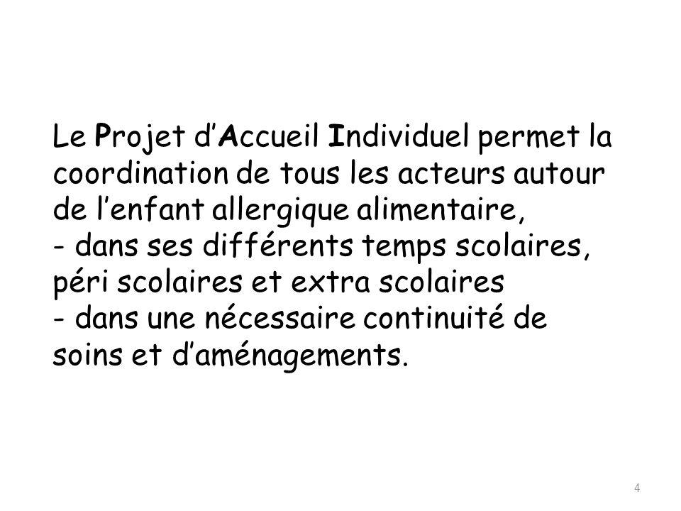 Le Projet d'Accueil Individuel permet la coordination de tous les acteurs autour de l'enfant allergique alimentaire, - dans ses différents temps scola