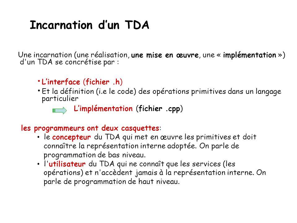 Incarnation d'un TDA Une incarnation (une réalisation, une mise en œuvre, une « implémentation ») d'un TDA se concrétise par : • L'interface (fichier.