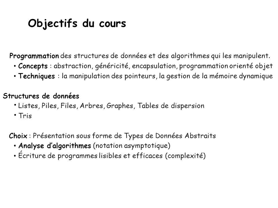 Objectifs du cours Programmation des structures de données et des algorithmes qui les manipulent. • Concepts : abstraction, généricité, encapsulation,