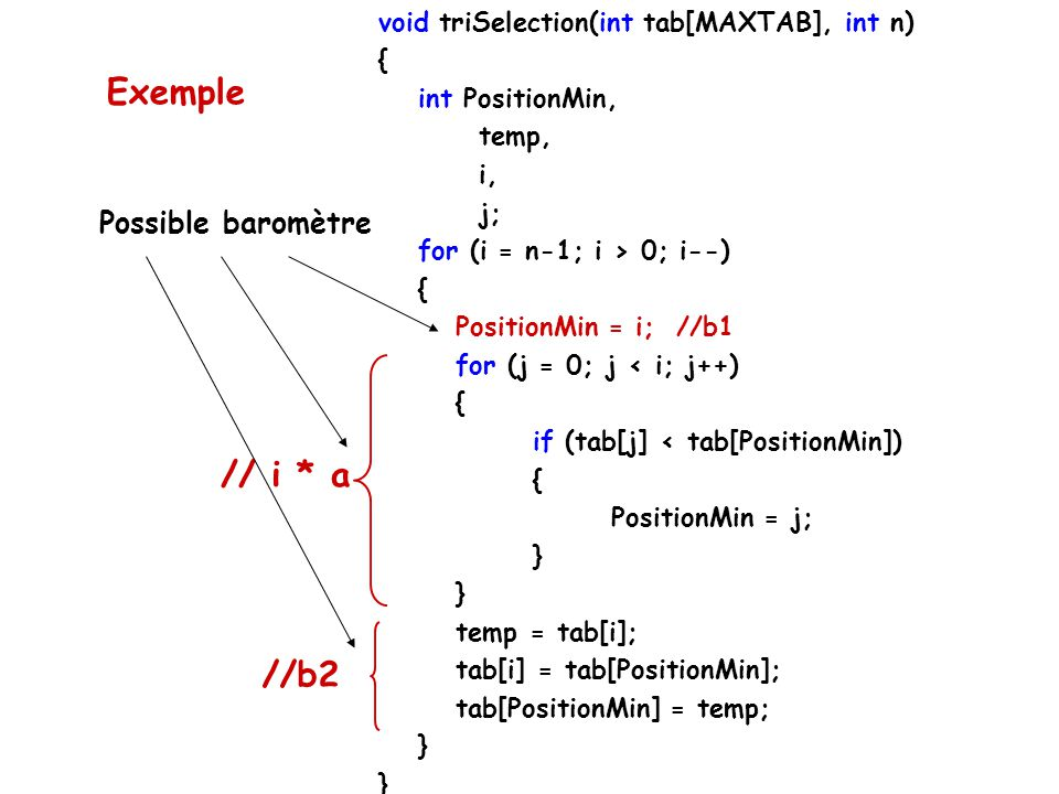 void triSelection(int tab[MAXTAB], int n) { int PositionMin, temp, i, j; for (i = n-1; i > 0; i--) { PositionMin = i; //b1 for (j = 0; j < i; j++) { if (tab[j] < tab[PositionMin]) { PositionMin = j; } temp = tab[i]; tab[i] = tab[PositionMin]; tab[PositionMin] = temp; } // i * a //b2 Possible baromètre Exemple