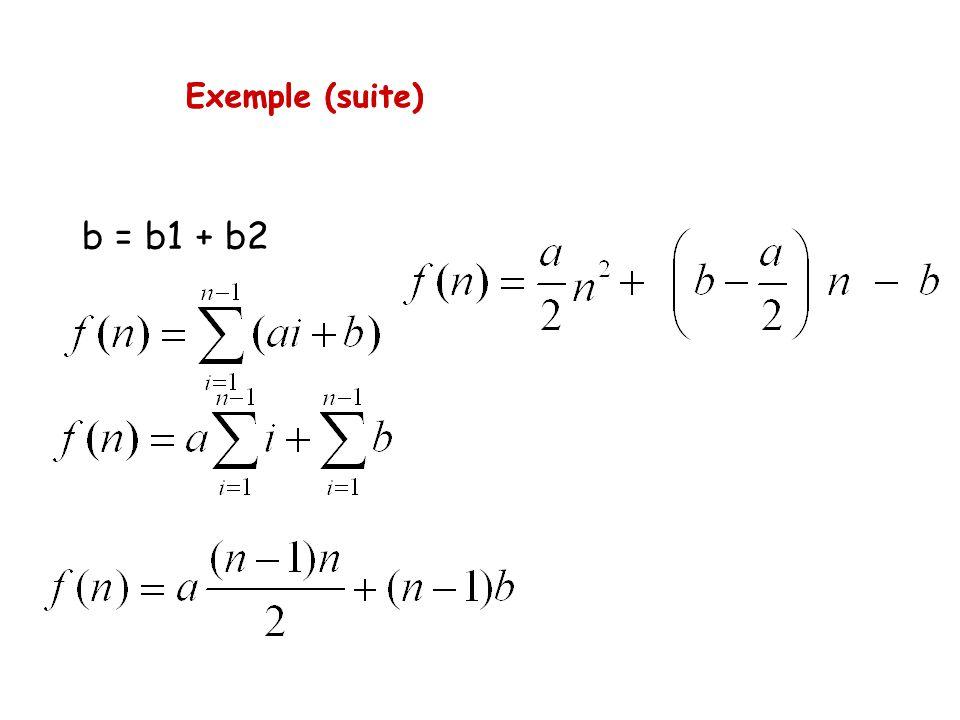 Exemple (suite) b = b1 + b2