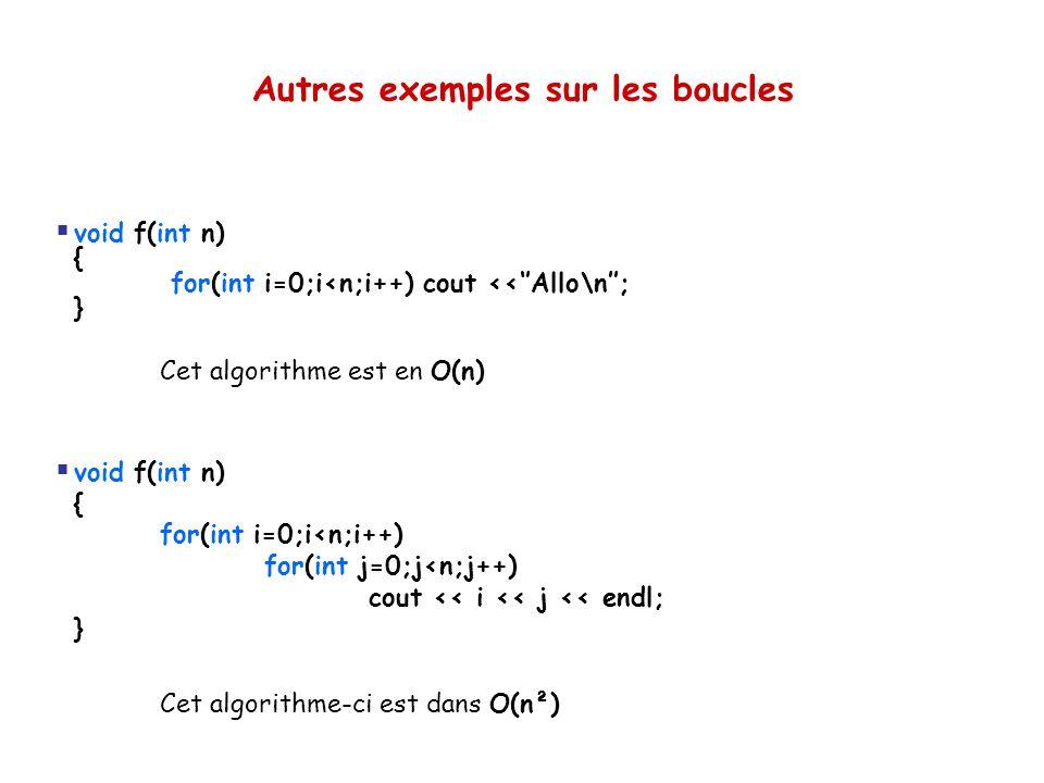 Autres exemples sur les boucles  void f(int n) { for(int i=0;i<n;i++) cout <<''Allo\n''; } Cet algorithme est en O(n)  void f(int n) { for(int i=0;i