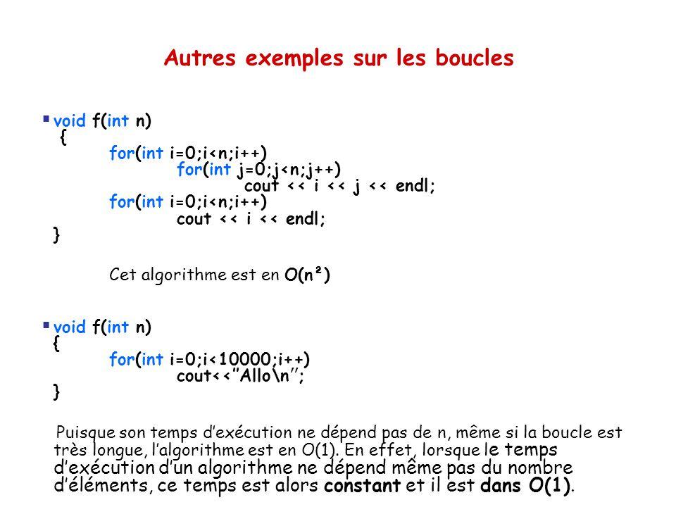 Autres exemples sur les boucles  void f(int n) { for(int i=0;i<n;i++) for(int j=0;j<n;j++) cout << i << j << endl; for(int i=0;i<n;i++) cout << i <<