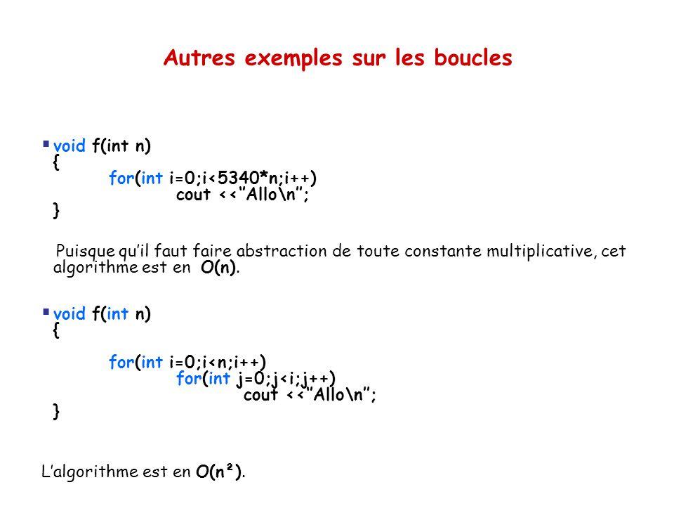 Autres exemples sur les boucles  void f(int n) { for(int i=0;i<5340*n;i++) cout <<''Allo\n''; } Puisque qu'il faut faire abstraction de toute constan