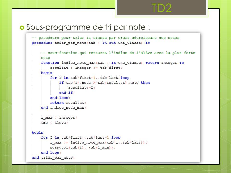  Sous-programme de tri par note : TD2