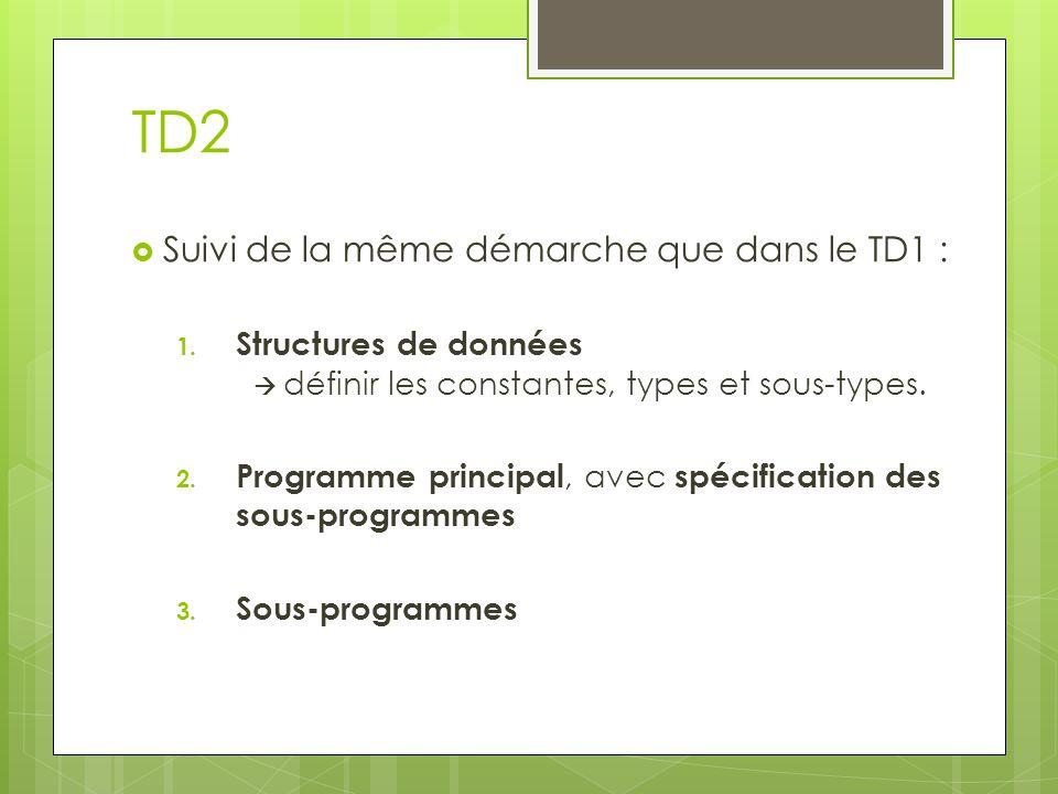 TD2  Suivi de la même démarche que dans le TD1 : 1. Structures de données  définir les constantes, types et sous-types. 2. Programme principal, avec