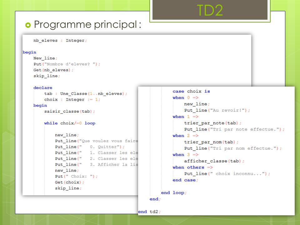  Spécification des sous-programmes :  …… saisir_classe(…)  …… afficher_classe(…)  …… trier_par_note(…)  …… trier_par_nom(…) TD2