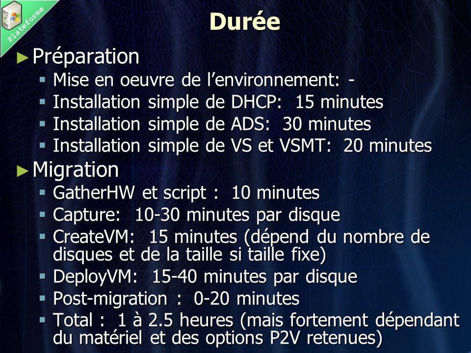 PlateformeDurée ► Préparation  Mise en oeuvre de l'environnement: -  Installation simple de DHCP: 15 minutes  Installation simple de ADS: 30 minutes  Installation simple de VS et VSMT: 20 minutes ► Migration  GatherHW et script : 10 minutes  Capture: 10-30 minutes par disque  CreateVM: 15 minutes (dépend du nombre de disques et de la taille si taille fixe)  DeployVM: 15-40 minutes par disque  Post-migration : 0-20 minutes  Total : 1 à 2.5 heures (mais fortement dépendant du matériel et des options P2V retenues)