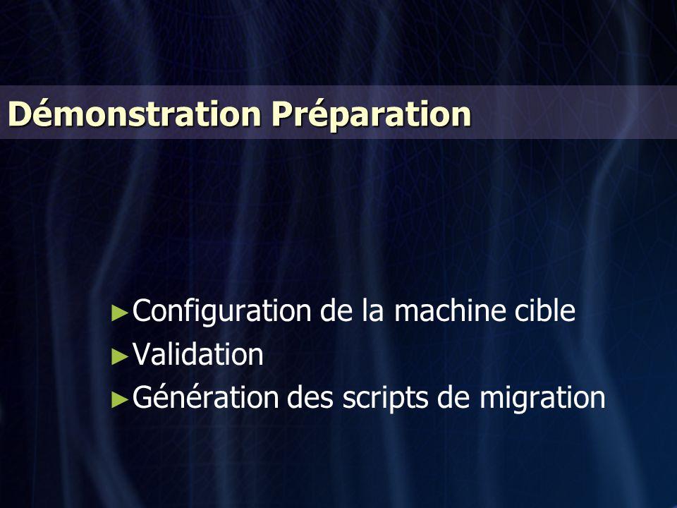 ► ► Configuration de la machine cible ► ► Validation ► ► Génération des scripts de migration Démonstration Préparation
