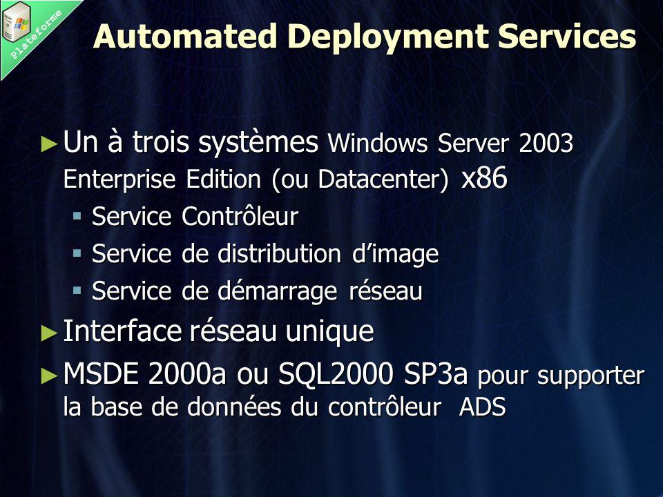 Plateforme Automated Deployment Services ► Un à trois systèmes Windows Server 2003 Enterprise Edition (ou Datacenter) x86  Service Contrôleur  Service de distribution d'image  Service de démarrage réseau ► Interface réseau unique ► MSDE 2000a ou SQL2000 SP3a pour supporter la base de données du contrôleur ADS