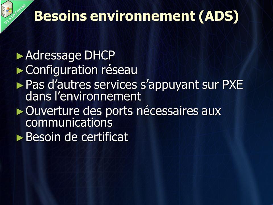Plateforme Besoins environnement (ADS) ► Adressage DHCP ► Configuration réseau ► Pas d'autres services s'appuyant sur PXE dans l'environnement ► Ouverture des ports nécessaires aux communications ► Besoin de certificat