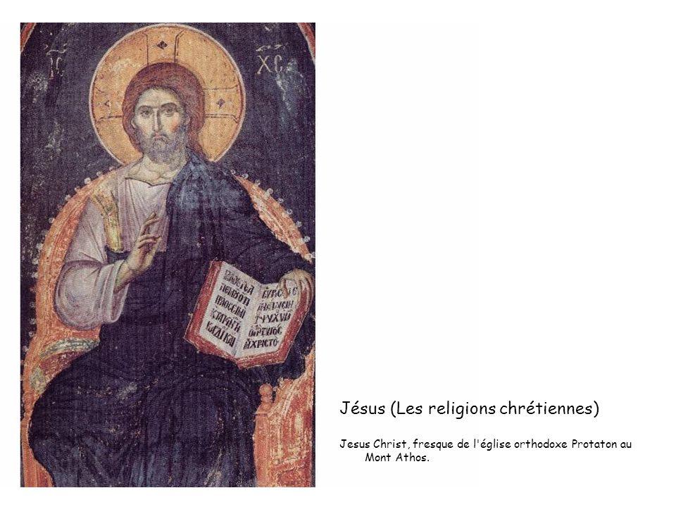 Jésus (Les religions chrétiennes) Jesus Christ, fresque de l'église orthodoxe Protaton au Mont Athos.