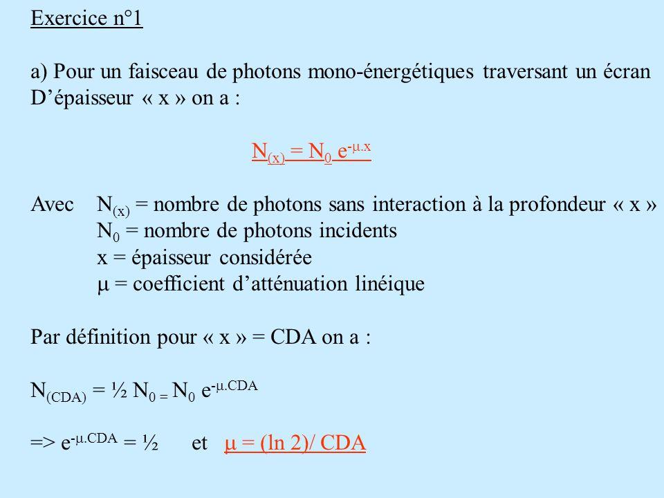 Exercice n°1 a) Pour un faisceau de photons mono-énergétiques traversant un écran D'épaisseur « x » on a : N (x) = N 0 e -  x Avec N (x) = nombre de